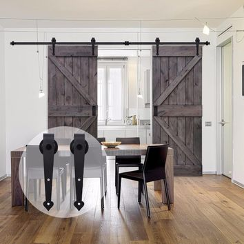 LWZH American Style Wood Barn Door 6FT/7FT/7.5FT/9FT Black Steel Sliding Barn Door Heart Shaped Track Roller for Double Door