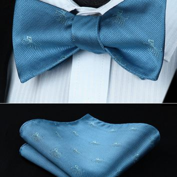 BGA02BS Animal Pattern Blue Wedding Bowtie Men Silk  Self  Bow Tie handkerchief set