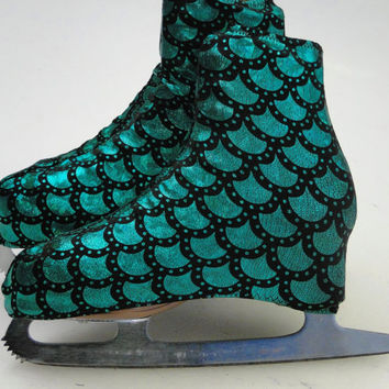 Ariel Little Mermaid Green Skate Boot Covers / Figure Skating / Ice Skating / Roller Skating