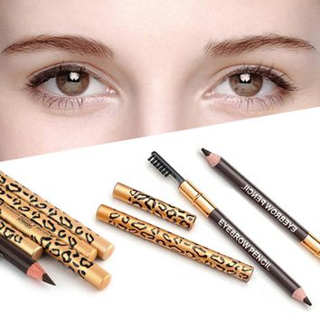 1pc Eyebrow Pencil & Brush Eyebrow Enhancer Long Lasting Makeup Pencil To Eye Two Sides With Brush Design Metal Casing 4 Colors