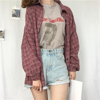 Women's Shirts Tunic Japan Kawaii Ladies Retro Chic Pocket Split Plaid Shirt Casual Female Punk Harajuku Cute Clothes For Women
