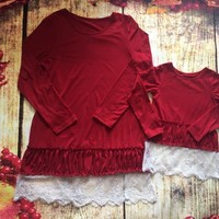 Preorder- Mommy and me Red Tunic Lace Top