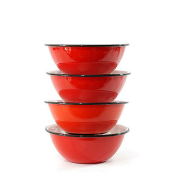 Vintage Red Enamel Bowl, Set of Four, Made in Japan, Otagiri