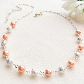 Coral Pearl Necklace Pearl Jewelry Bridesmaid Jewelry Coral Necklace Wedding Jewelry Pearl Necklace Wedding