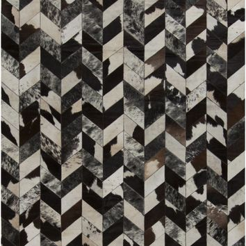 Appalachian Hides and Leather Area Rug Black, Gray