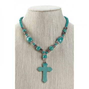 "Turquoise Beaded Cross Necklace 18"" FREE SHIPPING"