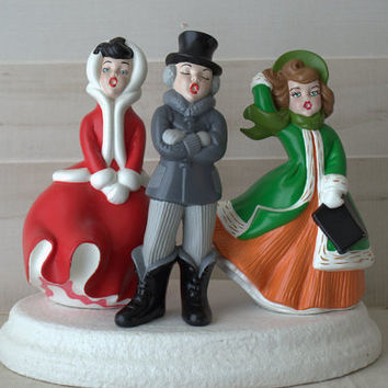 Vintage Atlantic Company Retro Handpainted Ceramic Christmas Caroler with Stand