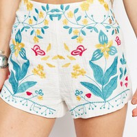 Honey Punch Boho Festival Shorts With Floral Embroidery