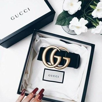 ''Gucci''Fashion Smooth Buckle Belt Leather Belt For Woman