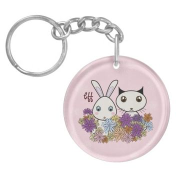 Cute Bunny and Kitten Pink Round Keychains for Girls: BFF - Best Friends Forever