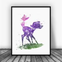 Bambi Butterfly Color Art Print Poster