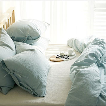 Washed Ash Mint / Light Blue Colored Cotton Linen Soft Twin / Queen Size Bedding Set
