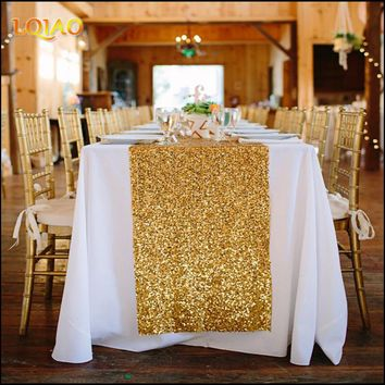 2017 New Wedding Party Decorations Tablecloths 30x180cm(12x72inch) Gold Silver Champagne Sequin Table Runner Flag Cloth Covers