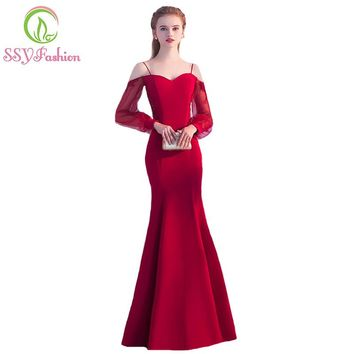 Fashion New Simple Sexy Red Mermaid Long Evening Dress The Sweetheart Long Sleeved Backless Fishtail Prom Party Gown