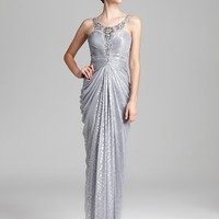 Adrianna Papell Metallic Gown - Sleeveless Illusion Neck | Bloomingdale's