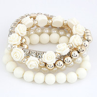 Floral Pearl and Rhinestone Multi Layer  Bracelet