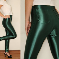 High Waisted Disco Pants Leggings in Shiny Green for by KSclothing