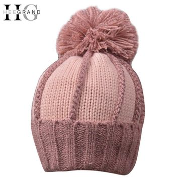 Winter Beanies For Women Knitted Acrylic Hats Solid Skullies & Beanies Big Pompom Caps Warm Fur Female Beanie