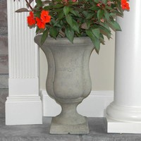 MPG 17 in. H Cast Stone Liam Urn on Square Base in Aged Granite Finish-PF6215AG at The Home Depot