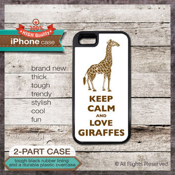Keep Calm And Love Giraffes - iPhone 6, 6+, 5 5S, 5C, 4 4S, Samsung Galaxy S3, S4  - Protective and Stylish