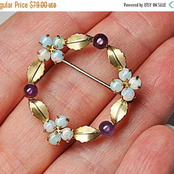 ON SALE Vintage KREMENTZ 14K Gold Overlay Amethyst & Opal Circle Brooch, Leaves, Flowers, Stunning Colors! #B042