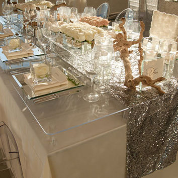 Grey Sequin Table Runner  15 x 108