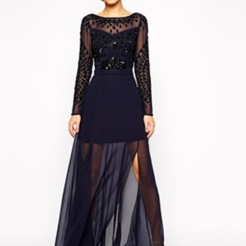 Frock and Frill Embellished Long Sleeve Maxi Dress