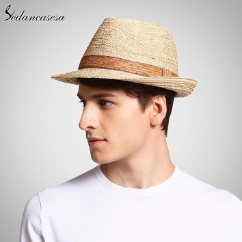 Classic male fedora straw hat UV protection summer sun hats for man women handmade raffia straw trilby cap beach holiday cool