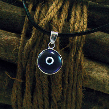 """Classic Blue Evil Eye Protection Necklace 18"""" Greek Mati Hamsa 925 Sterling Silver Pendant Charm with Genuine Leather"""