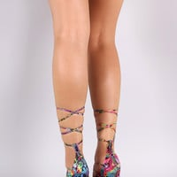 Rainbow Snake Scallop Lace Up Stiletto Heel
