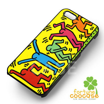 Keith Haring Art Colorful Silhouette Dancing -tri for iPhone 4/4S/5/5S/5C/6/ 6+,samsung S3/S4/S5/S6 Regular/S6 Edge,samsung note 3/4