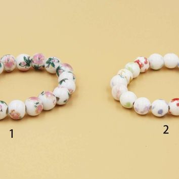 Ceramic Jewelry-ceramic Beads, Rubber Band Bracelet, Adjustable
