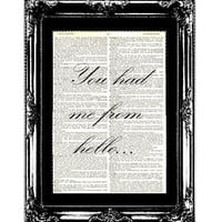 You Had Me From Hello Vintage Dictionary Page Art for Wedding Decorations