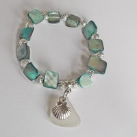 Natural Erose Shell and Sea Glass Bracelet