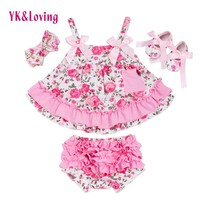 Summer Style Baby Swing Top Rose Baby Girls Clothing Set Infant Ruffle Outfits Bloomer Headband Newborn Girl Clothes Sets