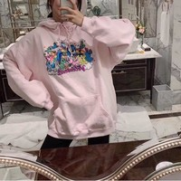"""""""Vetements"""" Casual Fashion Letter Unicorn Pattern Embroidery Long Sleeve Hooded Sweater Women Hoodie Tops"""