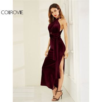 COLROVIE Velvet Convertible Party Dress 2017 High Slit Sexy Women Burgundy Maxi Autumn Dresses Sleeveless Cross Back Long Dress