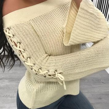New Beige Drawstring Lace-up Off Shoulder Long Sleeve Cute Slouchy Pullover Sweater