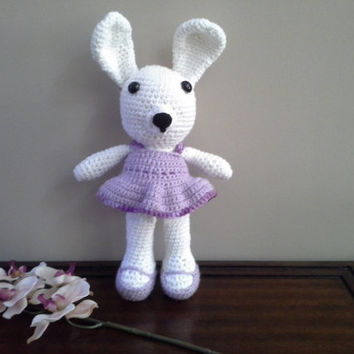 Crochet Easter Bunny, Crochet Bunny, Crochet Toy, Stuffed Animal, Stuffed Toy, Bunny, Purple and White Crochet Bunny