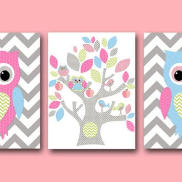 Owl Decor Owl Nursery Baby Girl Nursery Decor Children Art Print Baby Nursery Print Nursery Print Girl Art set of 3 8x10 Tree Rose Gray Blue