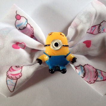 Despicable Me Minion Ice Cream Hairbow, Icecream Hair bow, Cute, Disney, Fairy Kei, Kitsch, Kawaii, Pastel, Sweet Lolita, Hearts, Cherry