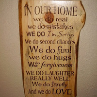 Rustic Typography Sign  In Our Home by RUSTICNORTHERN on Etsy