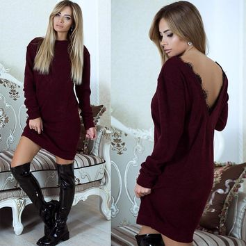 Winter Fashion Jumper Christmas Knitted Female Sweater Dress Women Long Sleeve Sexy Backless Femme Pullover