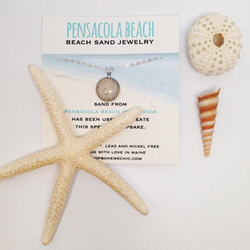 Pensacola Beach Sand Small Round Necklace Beach Sand Jewelry One of a Kind OOAK Florida Beach Vacation Memory Special Keepsake Gifts for Her