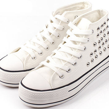 LOWTOP Or HIGHTOP White Studded Converse Inspired Sneakers (Unisex)