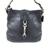 Auth COACH 8A68 Black Leather Shoulder Bag