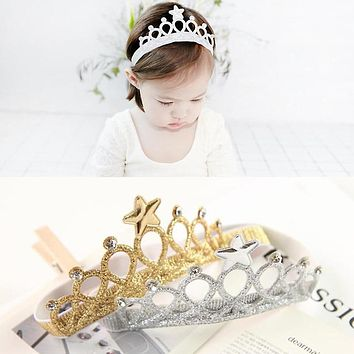 M MISM New Arrival Glittering Crown Headband Girls Hair Band Head Wrape Hair Accessories Princess Tiara Headband Kids Headwear