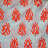 Leaf Block Print Indian Cotton Dress Fabric  in White and Neon Orange Color Sold by Yard