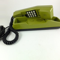 Vintage Green Telephone Rotary Antique Soviet Model Telephone from 1980s,  Retro telephone