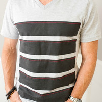 """Unisex Gray V-Neck with """"Stripes"""" Design and Red Stitched Accents"""